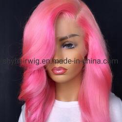100% волос человека розового цвета Wig волнистые 13X6 Бразильский орган человеческого волоса кривой Боб парики 8 - 16 дюймовый Реми кружева передней парики для чернокожих женщин