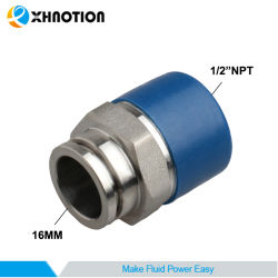 """L'acciaio inossidabile Spingere--Connette i connettori rapido adatto adattatore di 1/2 x di 16mm """" NPT"""