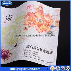 Dernière conception PVC Glitter papier peint de plâtre, papier peint avec des paillettes de la publicité de l'impression jet d'encre