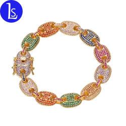Qualitätmens-Hip Hopbuntes Zircon-Diamant-Goldarmband