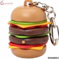 Hamburger 3D personalizada de fábrica de PVC de borracha Chaveiro Keyring