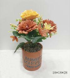 세라믹 냄비에 참신한 인공 유즙의 꽃