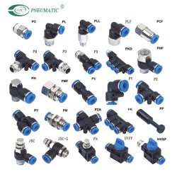Blaue Farbe Pneumatische Verbindung Luftschlauchschlauch Pneumatische Kunststoffbefestigungen