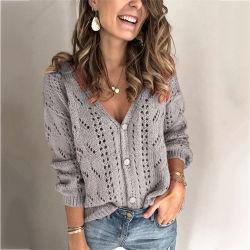 2021 Amazon Solid Color T Flower Wool V-Neck Hollow met lange mouwen Sexy sweater Cardigan Women Winter Coats for Ladies Women