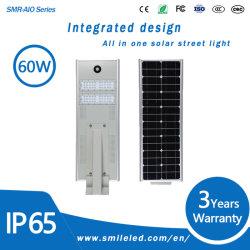 60W 1 태양 가로등 자동적인 일광 센서 스위치 점화에서 지적인 운동 측정기 통합 LED 전부