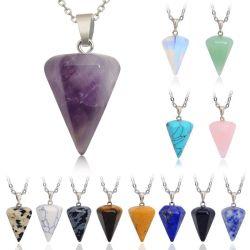 Collier or Bijoux en argent de la chaîne en acier inoxydable Pendentifs pierres naturelles Déclaration Chokers Colliers Colliers de la guérison des cristaux de Quartz rose