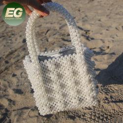 Peb43によって編まれるバスケットデザインハンドメイドのビーズの夕方のハンドバッグの真珠のバケツ袋の女性のビードのハンドバッグ