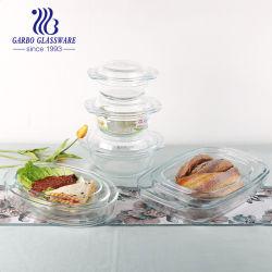 Hohe Borosilikathitzebeständige Kochtopf Mikrowelle Ofen Sicher Glasschale Runde Pyrex Backglas Auflaufform mit Deckel