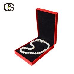 Color de alta calidad caja de Joya de cuero rojo con el paquete dentro de terciopelo Pulsera Collar Colgante anillo anillo de diamantes
