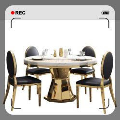 Mobili da pranzo moderni vetro piano superiore tavolo da caffè console 1+6 tavoli da pranzo in marmo bianco sedia per banchetti matrimonio Sala da pranzo del ristorante