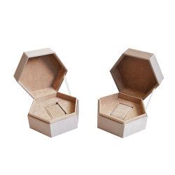 호화스러운 공상 반지 선물 주문 우단 포장 상자 육각형 보석함