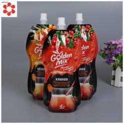 Mélanger la purée de fruits de forme irrégulière pochette sac en plastique avec bec verseur pour liquide emballages pour boissons