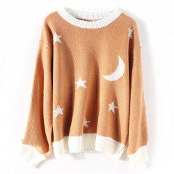 中国卸し売りイタリアの女性月およびStar プルオーバー短い 緩いセーター