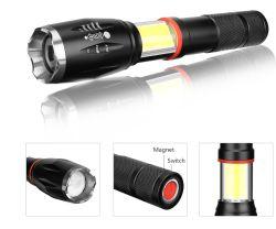 Indicatore luminoso registrabile di zumata della torcia della PANNOCCHIA LED di funzione LED di modi istantanei multi di alluminio della torcia elettrica 6