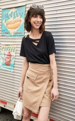 No Verão personalizado assimétrico Retro Hem 100% algodão saia de cintura elevada para as jovens mulheres Office Senhoras vestindo