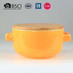 Tapa de madera preciosa doble de cerámica cuenco de sopa de oído