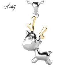 2020 Nuevas joyas de la Navidad Cartoon ciervo Animal dos tonos de cristal Colgante Collar con mejores