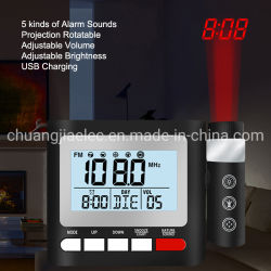 気象台が付いているデジタルプロジェクタークロックおよび寝室のための温度計
