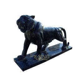 홈 장식을 위한 조각된 검은 대리석 호랑이 조각상