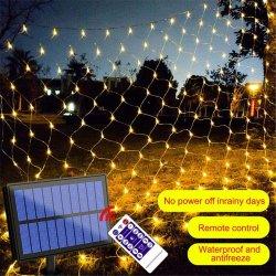 320 LED Solar Mesh Lights Outdoor Wasserdicht, 9,8FT X 6,6ft Solar Net Lights mit Fernbedienung, 8 Modi LED Weihnachten Net Lights für Bäume, Sträucher, Hochzeit