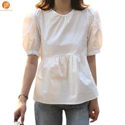 샹얀 여성용 캐주얼 피플푸프 반팔 러플 햄 베이비돌롤 셔츠