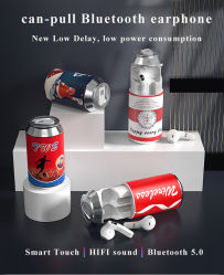 Горячая продажа подарок бутылка может Тин пиво вкладыши, потянув Tws Wireless Bluetooth-колы наушников