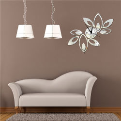 La pendaison romantique de l'horloge Miroir acrylique bricolage pendaison Bell Chambres 3D horloges murales