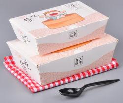 Stock de gros à usage unique Boîte de papier de Fast Food Sushi Salade de poulet frit Boîte à emporter Emballage accepter un logo personnalisé de l'impression