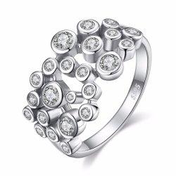 925 Sterling Silver Bulle de zircone cubique Anneau pour les femmes de gros de bijoux de mode