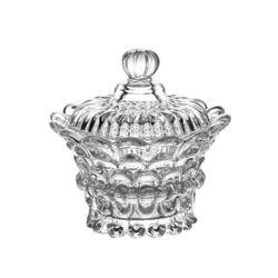 Ciotola di zucchero di vetro con il coperchio, vaso di vetro della caramella, vaso di vetro della candela