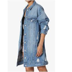 製品の新しい卸し売り偶然の方法特大長いデニムのジーンのジャケットの女性のコートを向くこと
