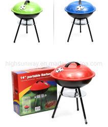 14 Zoll-mini beweglicher Fußball-Grill-Tabletop Holzkohle-Kugel-Fußball-Grill-Gitter BBQ