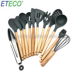 11PCS Conjunto de utensílios de cozinha de Silicone utensílios de cozinha Antiaderente com pega de madeira