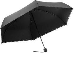 Mini guarda-chuva dobrável leves, pequenas guarda-chuva para as mulheres senhoras raparigas menores, guarda de viagens de secagem rápida com caixa de oferta, chapéu-Preto