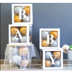 Party Birthday Backdrop DecorのためのアクリルのBaby Letter Black Pedestal Stand Square Cube Plinth Column
