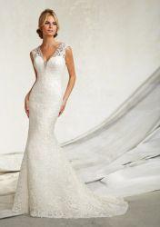 La dentelle française sexy robes de mariée robe de mariée col V Trompette Backless robe de mariée Cap manchon soirée nuptiale Vestido de Boda