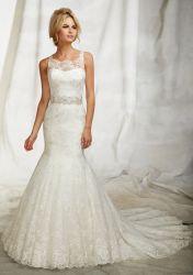 細い肩ひもの花嫁のウェディングドレスのフランスのレースの薄いバックコートのトレインの人魚のレースのウェディングドレス