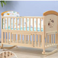 Madera maciza de pino para Niños Cuna de Madera maciza mobiliario para bebé CUNA CUNA con mallas
