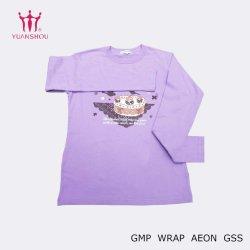 標準的な女の子の長袖の多彩なプリントが付いている紫色の綿のスポーツシャツ