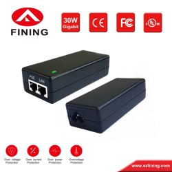 Poeの無線デバイスおよび保安用カメラのための48V700mA/56V540mA /30W IEEE802.3atギガビットPoeの注入器