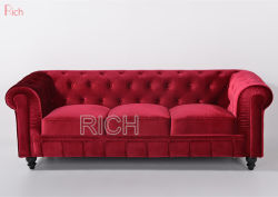 Домашняя гостиной здание красного бархата честерфилдскими диванами отеля мебель