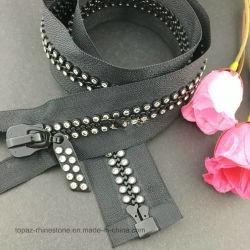 Ss10 60/70/80cm de longitud Rhinestone Decoración Zipper extremo abierto de diamantes de resina de cremallera para accesorios de costura de ropa de cristal (ZP)