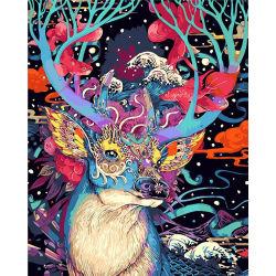 Digitaal Huis die door de Kleurrijke Herten van Aantallen voor Jonge geitjes Geen Frame schilderen