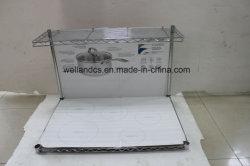 Novos Produtos 2 camadas de fio de metal shopping Prateleira Suporte de rack de exibição com ganchos de S