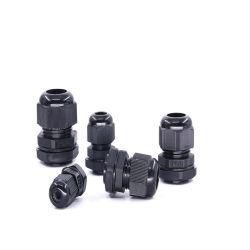 IP68 حشوات الكابلات البلاستيكية القابلة للضبط مقاس 6-11 مم مقاومة للماء، من نوع النايلون PG افصل موصل الكابل باستخدام صامولة القفل والفلكة المسطحة