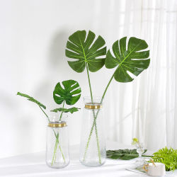 Banheira de venda por grosso de folhas Monstera artificial de plástico para decoração de mesa de casamento
