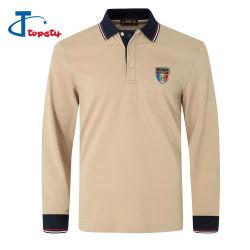 Slim Fit Honeycomed personalizado/Pique Polo camisetas de algodón/poliéster peso pesado de los hombres camisas Polo manga larga con logotipo bordado