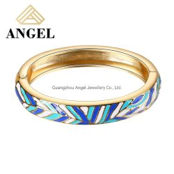 Jóias de prata jóias Bangle Bangle Bracelete com esmalte azul e branco para homens e mulheres