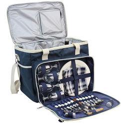 Picknickkorb Tragetasche Coles Cooler Bag Picknick-Schultertasche Set Stilvolle Tragbare Picknicktasche für 4 Personen mit Komplett bestecktem Besteckset
