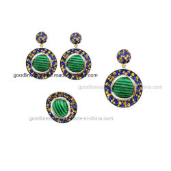 Malachite 925 の銀製リング / ペンダント / イヤリングの方法宝石類セット